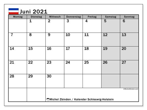 """Kalender """"Schleswig-Holstein"""" Juni 2021 zum ausdrucken ..."""