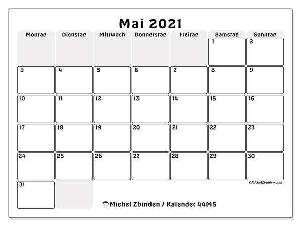Kalender Mai 2021, 44MS. Kostenlos ausdruckbare Planer.