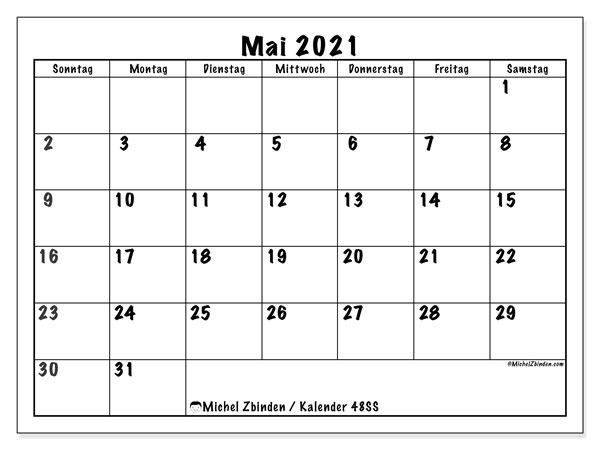 Kalender Mai 2021, 48SS. Kostenloser Zeitplan zum ausdrucken.