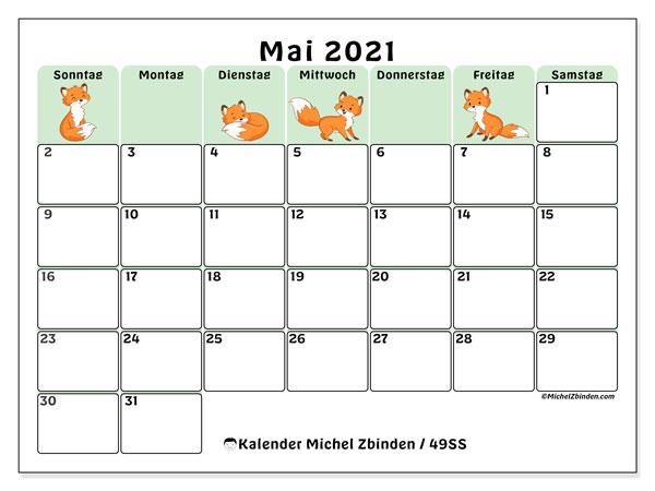 Kalender Mai 2021, 49SS. Kostenloser Zeitplan zum ausdrucken.