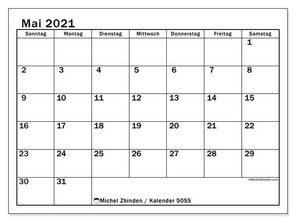 Kalender Mai 2021, 50SS. Monatlicher Zeitplan zum kostenlosen ausdrucken.