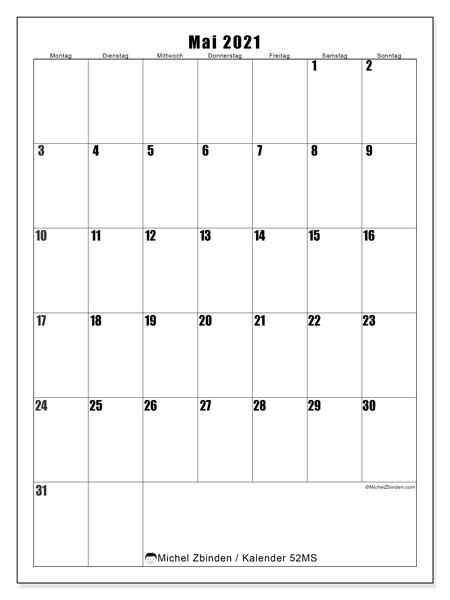 Kalender Mai 2021, 52MS. Monatskalender zum kostenlosen ausdrucken.