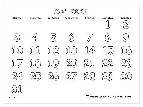 Kalender Mai 2021, 56MS. Monatlicher Zeitplan zum kostenlosen ausdrucken.