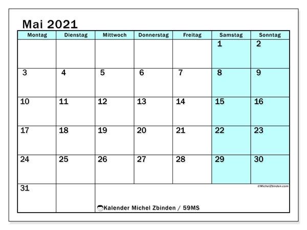 Kalender Mai 2021, 59MS. Kostenloser Planer zum ausdrucken.
