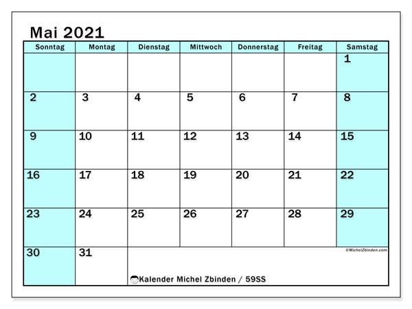 Kalender Mai 2021, 59SS. Monatlicher Kalender zum kostenlosen ausdrucken.