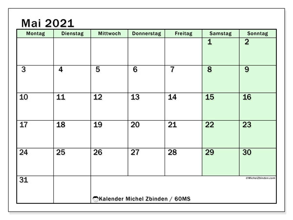 Kalender Mai 2021, 60MS. Kostenloser Zeitplan zum ausdrucken.