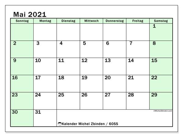 Kalender Mai 2021, 60SS. Kostenlos ausdruckbare Zeitplan.