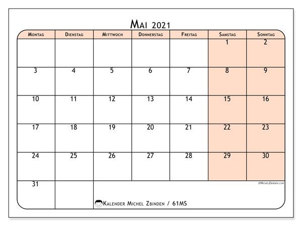 Kalender Mai 2021, 61MS. Monatlicher Zeitplan zum kostenlosen ausdrucken.