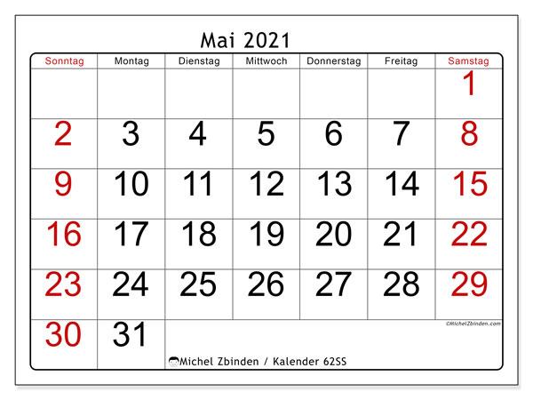 Kalender Mai 2021, 62SS. Kalender zum kostenlosen ausdrucken.