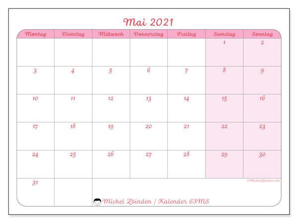 Kalender Mai 2021, 63MS. Monatlicher Kalender zum kostenlosen ausdrucken.
