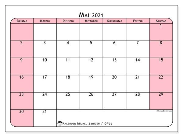 Kalender Mai 2021, 64SS. Zeitplan zum kostenlosen ausdrucken.