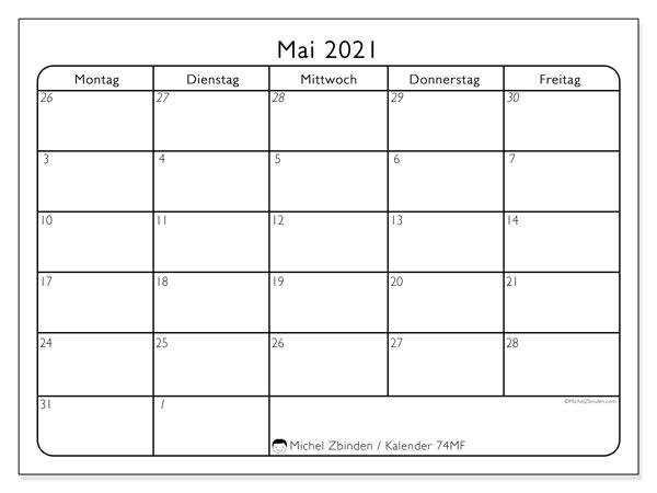 Kalender Mai 2021, 74SS. Monatlicher Zeitplan zum kostenlosen ausdrucken.