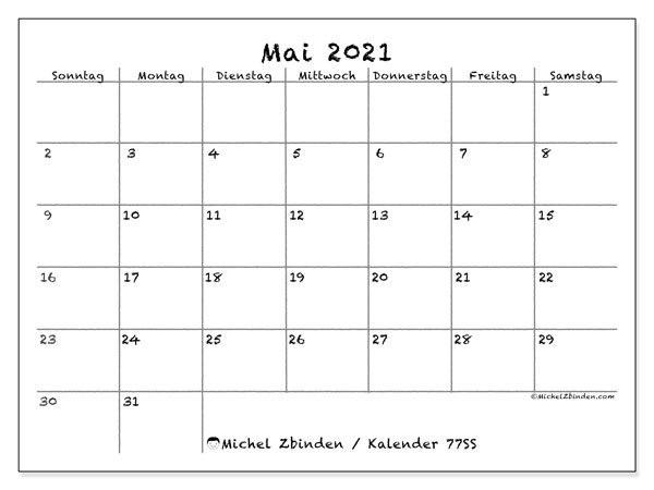 Kalender Mai 2021, 77SS. Kostenlos ausdruckbare Planer.