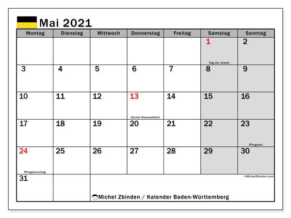 Kalender Mai 2021, mit den Feiertagen in Baden-Württemberg. Kalender Feiertage frei zum ausdrucken.