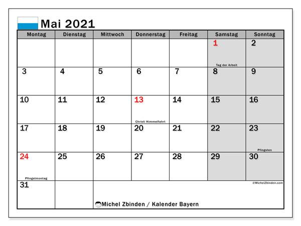 Kalender Mai 2021, mit den Feiertagen von Bayern. Kalender Feiertage frei zum ausdrucken.