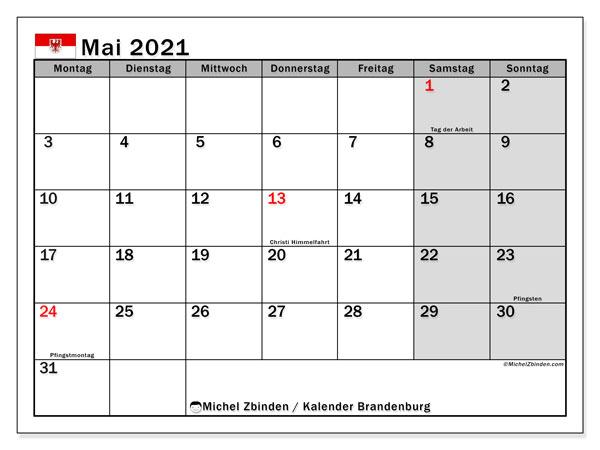 Kalender Mai 2021, mit den Feiertagen in Brandenburg. Kalender Feiertage frei zum ausdrucken.