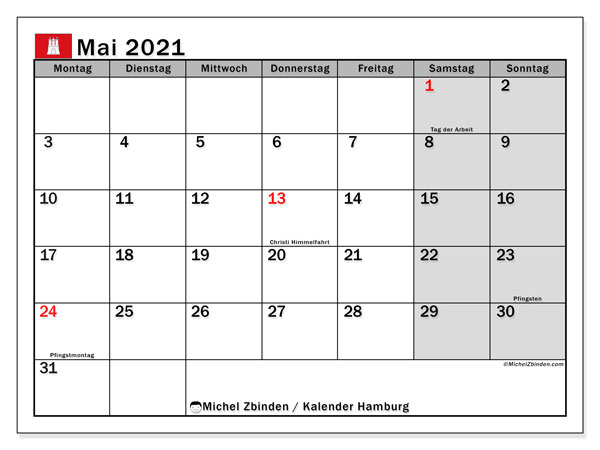 Kalender Mai 2021, mit den Feiertagen in Hamburg. Kalender mit Feiertagen zum kostenlosen ausdrucken.