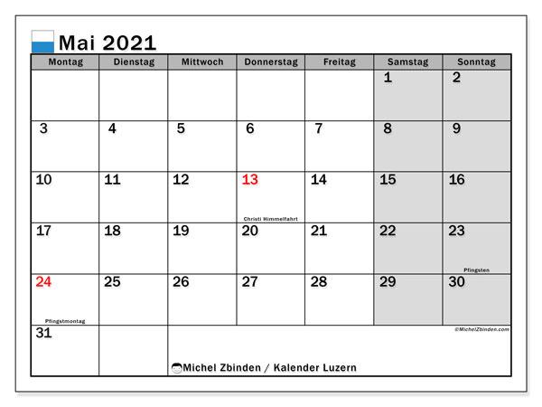 Kalender Mai 2021, mit den Feiertagen des Kantons Luzern. Kalender mit Feiertagen zum kostenlosen ausdrucken.