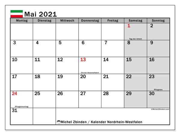 Kalender Mai 2021, mit den Feiertagen in Nordrhein-Westfalen. Kalender mit Feiertagen zum kostenlosen ausdrucken.