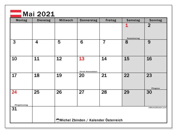 Kalender Mai 2021, mit den Feiertagen von Österreich. Kalender mit Feiertagen zum kostenlosen ausdrucken.