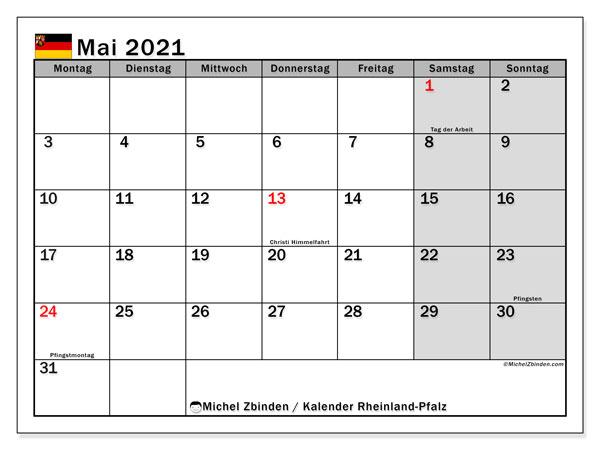 Kalender Mai 2021, mit den Feiertagen in Rheinland-Pfalz. Kalender Feiertage frei zum ausdrucken.