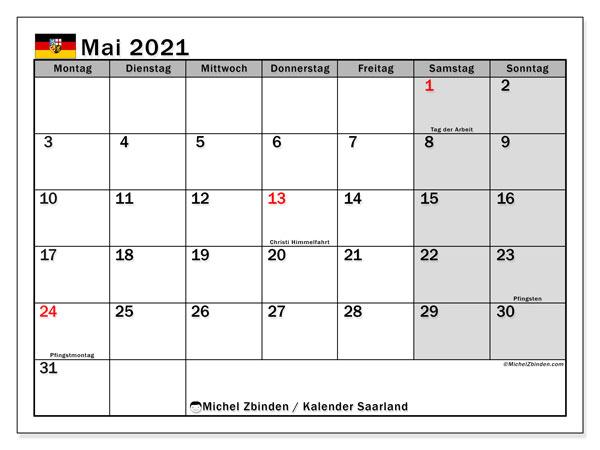 Kalender Mai 2021, mit den Feiertagen des Saarlandes. Kalender mit Feiertagen zum kostenlosen ausdrucken.