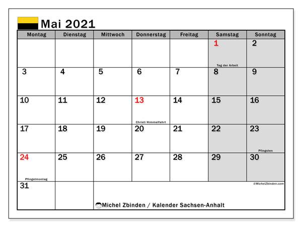 Kalender Mai 2021, mit den Feiertagen in Sachsen-Anhalt. Kalender Feiertage frei zum ausdrucken.