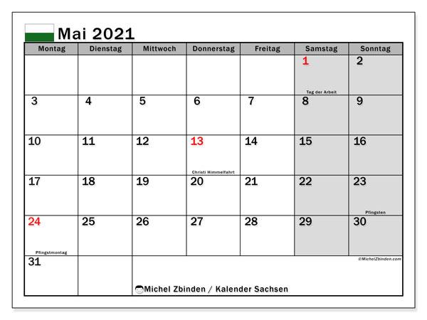 Kalender Mai 2021, mit den Feiertagen in Sachsen. Kalender mit Feiertagen zum kostenlosen ausdrucken.