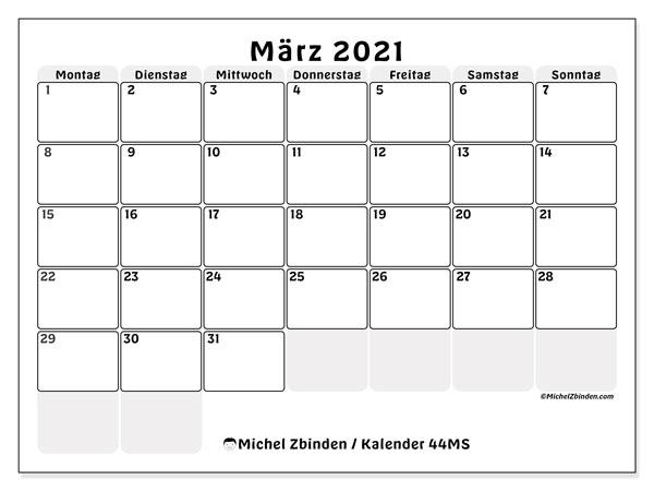 Kalender März 2021, 44MS. Monatlicher Kalender zum kostenlosen ausdrucken.