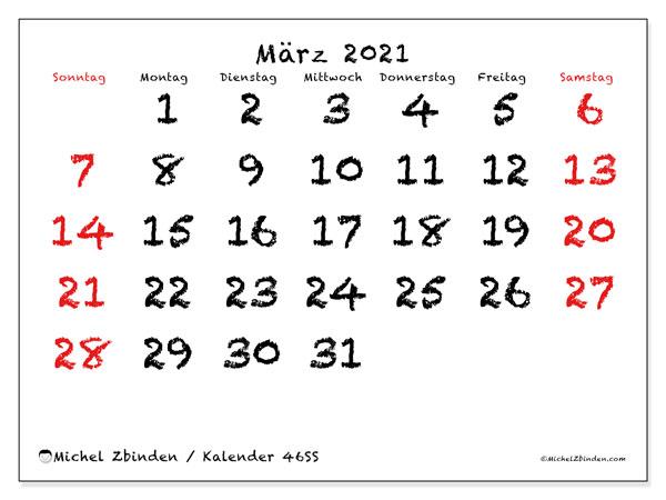Kalender März 2021, 46SS. Planer zum kostenlosen ausdrucken.