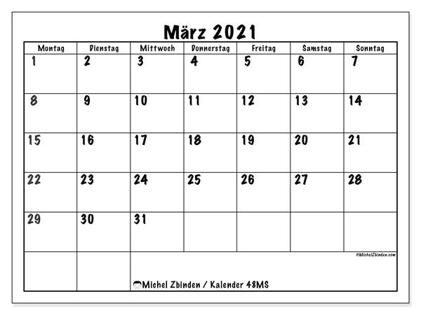 Kalender März 2021, 48MS. Kalender für den Monat zum kostenlosen ausdrucken.