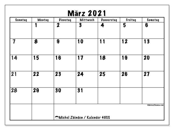Kalender März 2021, 48SS. Monatlicher Zeitplan zum kostenlosen ausdrucken.