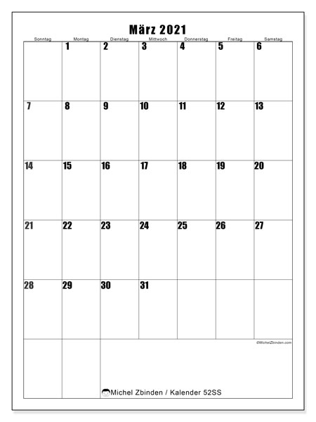 Kalender März 2021, 52SS. Kostenloser Planer zum ausdrucken.
