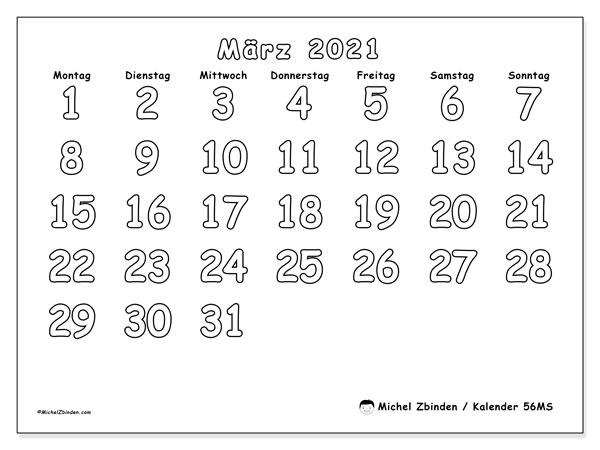 Kalender März 2021, 56MS. Monatskalender zum kostenlosen ausdrucken.