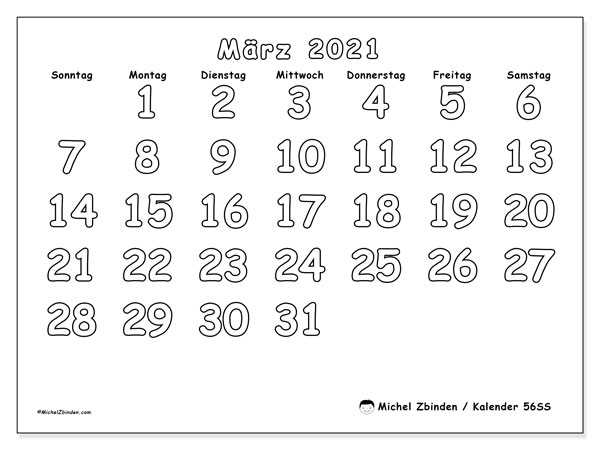 Kalender März 2021, 56SS. Monatlicher Kalender zum kostenlosen ausdrucken.