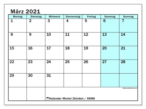 Kalender März 2021, 59MS. Kostenloser Planer zum ausdrucken.