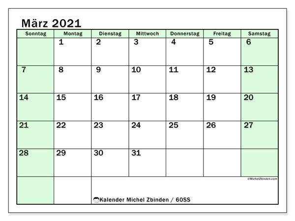 Kalender März 2021, 60SS. Monatskalender zum kostenlosen ausdrucken.