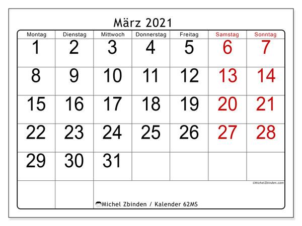 Kalender März 2021, 62MS. Kalender für den Monat zum kostenlosen ausdrucken.