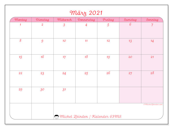 Kalender März 2021, 63MS. Kostenlos ausdruckbare Kalender.