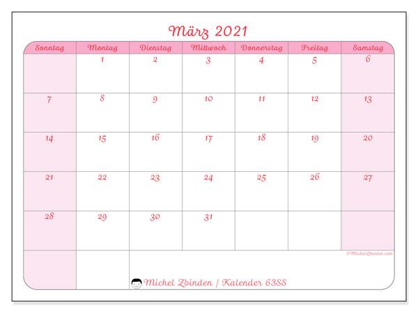 Kalender März 2021, 63SS. Kostenlos ausdruckbare Planer.