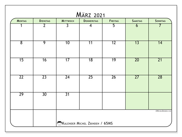 Kalender März 2021, 65MS. Kostenlos ausdruckbare Planer.