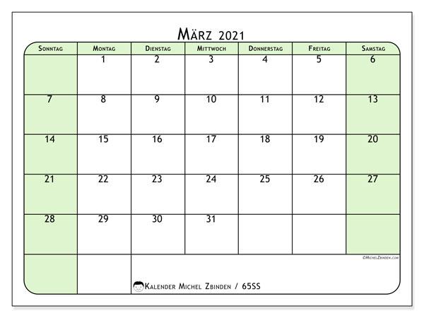 Kalender März 2021, 65SS. Monatlicher Zeitplan zum kostenlosen ausdrucken.