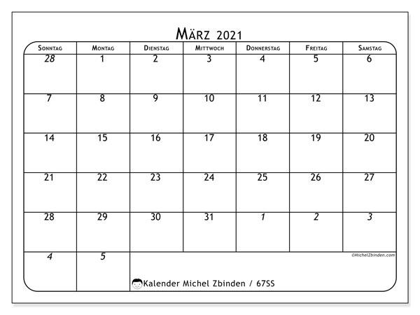 Kalender März 2021, 67SS. Kalender zum kostenlosen ausdrucken.