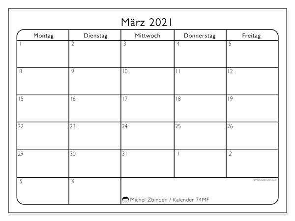 Kalender März 2021, 74SS. Zeitplan zum kostenlosen ausdrucken.