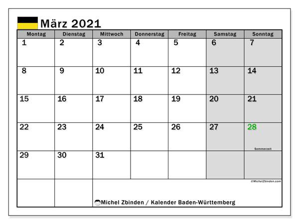 Kalender März 2021, mit den Feiertagen in Baden-Württemberg. Kalender mit Feiertagen zum kostenlosen ausdrucken.