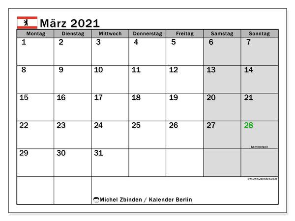 Kalender März 2021, mit den Feiertagen in Berlin. Kalender Feiertage frei zum ausdrucken.