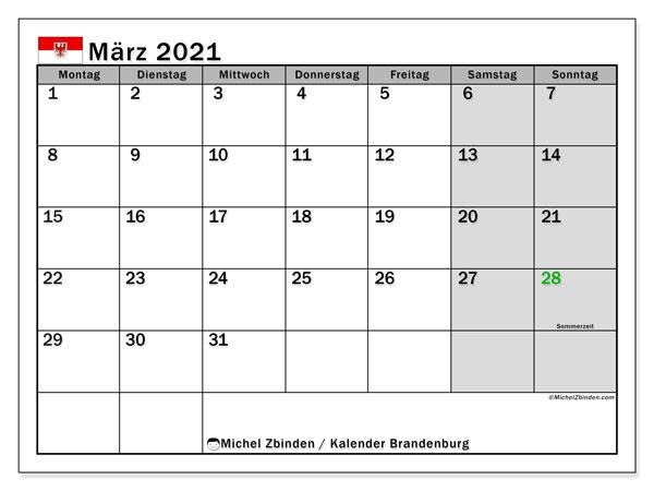 Kalender März 2021, mit den Feiertagen in Brandenburg. Kalender Feiertage frei zum ausdrucken.