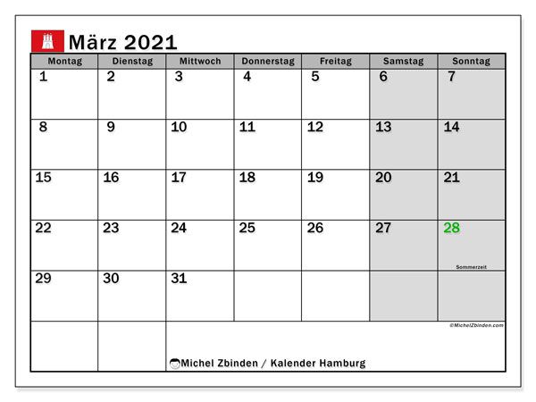 Kalender März 2021, mit den Feiertagen in Hamburg. Kalender Feiertage frei zum ausdrucken.