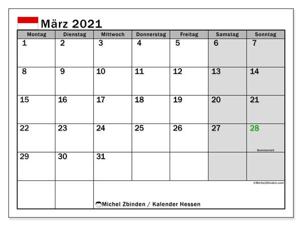 Kalender März 2021, mit den Feiertagen in Hessen. Kalender mit Feiertagen zum kostenlosen ausdrucken.