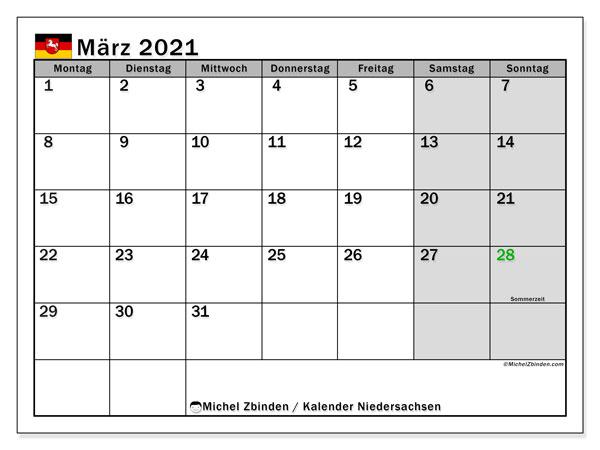 Kalender März 2021, mit den Feiertagen in Niedersachsen. Kalender mit Feiertagen zum kostenlosen ausdrucken.